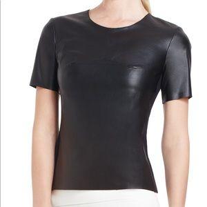 BCBG Tulum faux leather shirt